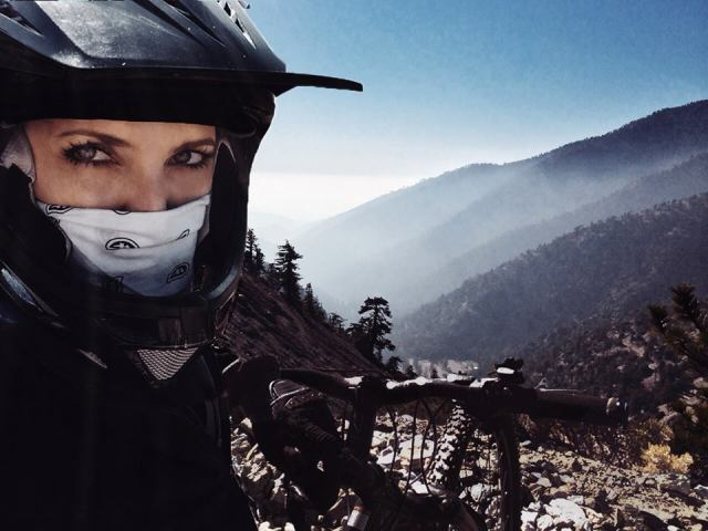 Hillary mountain biking on the trails of Mount Baldy
