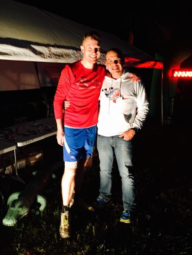 With Race Director, Rob Goyen. Note the blow up Alligator which was hidden around some bends on the course. Hilarious at 1am...