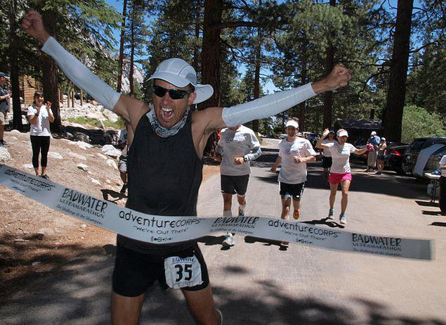 Harvey Lewis Finishes Badwater. Now, that's a finish. Photo: chicabands.com